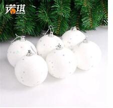 6PCS New Christmas White Foam Ball Hanging Decoration Christmas Ornaments Craft