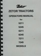 ZETOR 5211, 5245, 6211, 6245, 7211, 7245 Tractor Operator's Instruction Manual