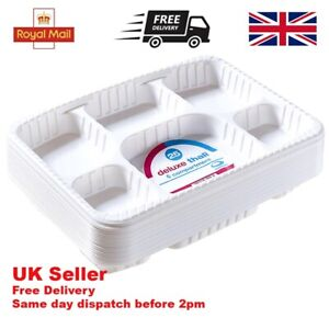 Disposable Plastic 6 Section Plate Indian Thali Trays Wedding/Catering/Parties