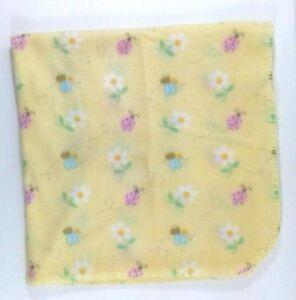 Simply Home Yellow Bumble Bee & Ladybug Daisy Flowers Fleece Baby Blanket B75