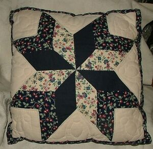 Vintage THROW PILLOW Sarah's Choice 8 Pointed Star Hand Made Stitched & Quilted