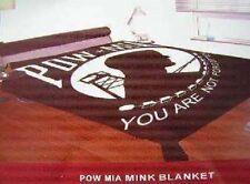 """Powmia Pow Mia Flag Full/Queen Mink Throw Blanket (78"""" x 94"""")"""