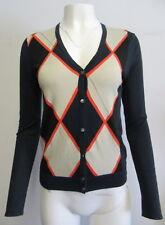 PRINGLE of SCOTLAND 100% cotton navy- multi argyle cardigan sweater sz M