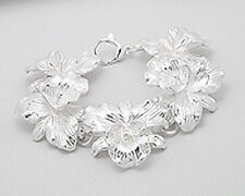 "9.5"" Silver Plated Feminine Orchid Flower Power Bracelet 35mm Gorgeous!"