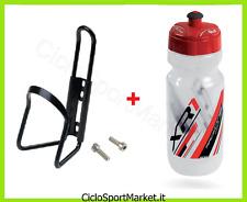 Portaborraccia + Borraccia in PE ROSSO 600 ml bici Mountain Bike Corsa Strada