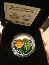 2014 CANADA $20 WATER LILY & VENETIAN GLASS LEOPARD FROG SILVER COIN W/BOX & COA