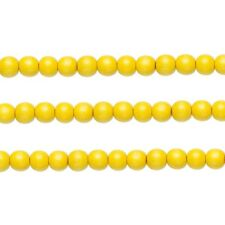 Wood Round Beads Dark Yellow 8mm 16 Inch Strand
