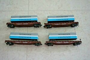 """Lot of 4 ATLAS N SCALE PIGGYBACK FLAT W/ """"INTERSTATE CONTAINER"""" 40' TRAILER"""