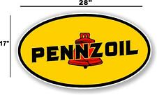"""(PENN-1) 28"""" EARLY PENNZOIL OIL LUBSTER front DECAL GAS PUMP SIGN GASOLINE"""