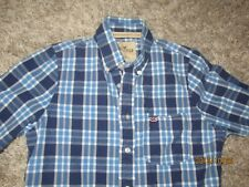 Men's long sleeve button front shirt by Hollister Size Medium blue