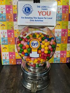FORD PENNY GUM BALL MACHINE w/PLASTIC GLOBE & 2 LBs of GUM included!