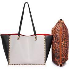 Ladies' Studded Shoulder Faux Leather Handbag Black/White