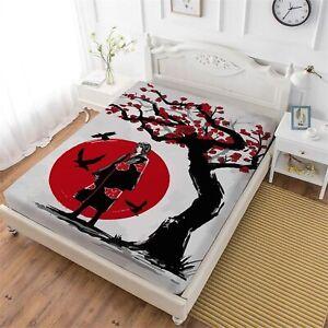 Naruto0 Deep Pocket Fitted Sheet Set 3PCS Mattress Cover Pillowcases Bedding Set