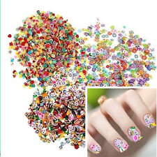 1000PCS 3D Fruit Animals Fimo Slice Clay DIY Nail Art Tips Sticker Charm Decor
