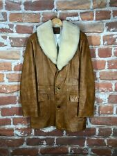 Polo Ralph Lauren L/XL Shearling Fur Leather Hunting Army Military Shawl Jacket