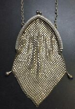 Vintage Victorian Silver Tone Metal Mesh Purse with Blue Stone Accents