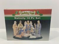 Holiday Style Vintage Nativity 10pc Set Porcelain W/ Wodden Base