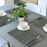 Placemats Heat-Resistant Washable Woven Anti-Skid PVC Table Mats Set of 6 Gray