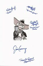 TAD STONES Authentic Sketch Signed Cast DARKWING DUCK JIM CUMMINGS+4 11x17 Paper