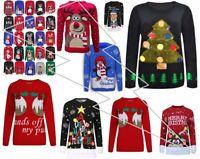Girls Women XMAS Designs Rudolph Reindeer Penguin Ho Ho 3D Christmas Jumper LOT