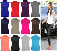 Ladies Sleeveless Plain Turtle Polo Roll Neck Top Womens Summer New Jumper 8-22