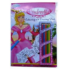 A4 Cendrillon Coloration & dessiner Livre Inc Crayons - 20 feuilles Blanc & 30 couleur au