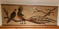 "Mid Century Gravel Art Pheasant Mosaic Pebble Peacock Birds Picture MCM 36"" 60s"