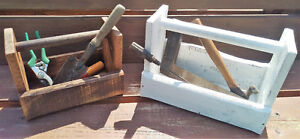 Rustic Wooden Storage Tote - Handmade Shabby Chic Caddy - Antique style Tool box