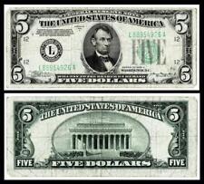 1934-A $5 FRN FEDERAL RESERVE NOTE ~~ SAN FRANCISCO, CA