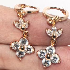 Long womens dangle drop earrings frower earrings gold earrings jewelry crystal