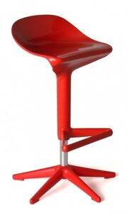 Modern Red Adjustable Patio Kitchen Counter Bar Stool - 2x Pc
