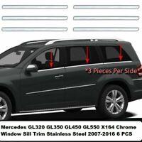 MERCEDES GL 320 350 450 550 2007-2016 Fensterleisten Blenden 6 tlg Edelstahl
