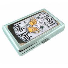 Vintage Bar Signs D10 Silver Metal Cigarette Case RFID Protection Wallet