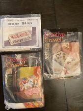 Lot of 3 Vintage Crewel Doorstop Kit Erica Wilson 7232, 7138, Etc