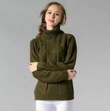 Women High Neck Jumper Cable Knitted Sweater Pullover Long Sleeves Coat Jacket
