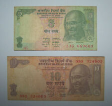 INDE - INDIA - BILLETS - 5 + 10 RUPEES - ROUPIES