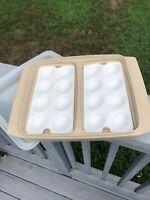 Vintage Tupperware DEVILED EGG TAKERS Keeper Tray Sheer Lid Beige SET of 2