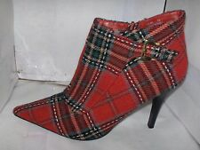 ANNE MICHELLE WOMAN RED CLOTH ANKLE POINTY BOOTS GOLD BUCKLE  SIZE 7.5 M GIN-48