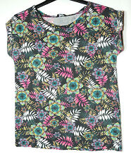 BLACK FLORAL LADIES CASUAL TOP STRETCHY SIZE 10/38 GEORGE