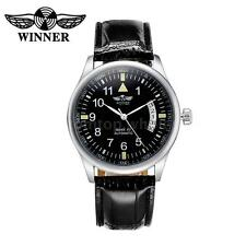 WINNER Automatic Mechanical Watch Self-winding Men Women Leather Wristwatch G7F4