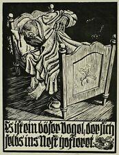 RUDOLF NEHMER - Ein böser Vogel / Nestbeschmutzer - Holzschnitt 1946