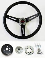 "Chevrolet C10 K10 Pick Up Truck Black on Black Steering Wheel BlK/Rd Cap 13 1/2"""