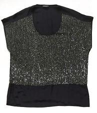 EILEEN FISHER Black U-Neck Cap-Sleeved Silk Top Sequined Rivulet Sz L (10-12)