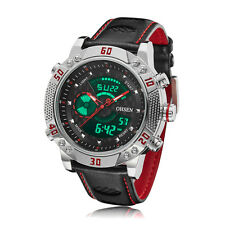 Ohsen Mens Military Leather Case Plated Date Water Proof Quartz Wrist Watch Gift