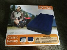 Intex Twin Size Classic Blue Downy Inflatable Air Bed Mattress Camp Staycation