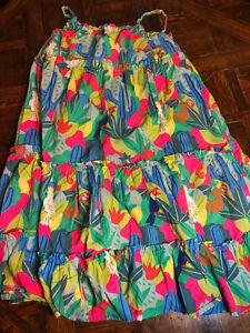 Mini Boden Girls Dress 9-10 Green,pink,blue Catcus,sloth