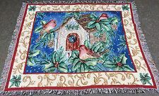 Christmas Songbirds Tapestry Afghan Throw