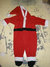 Old Navy fleece Santa one piece suit 6-12 month zips, hat, attached feet CUTE