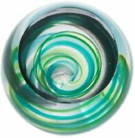 Caithness Glass paperweight Retro Green Vortex U18039