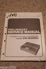 JVC CR-8300 Editing U-Matic Cassette UVCR VTR Preliminary Service Manual